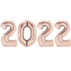 "2018 Rose Gold Foil Balloon Numbers - 34"" Foil"
