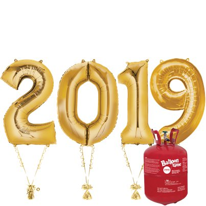 "2019 Gold Foil Balloon Kit With Helium - 34"" Foil"