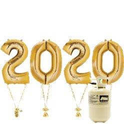 "2020 Gold Foil Balloon Kit With Helium - 34"" Foil"