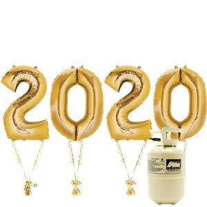 2020 Gold Foil Balloon Kit With Helium - 34