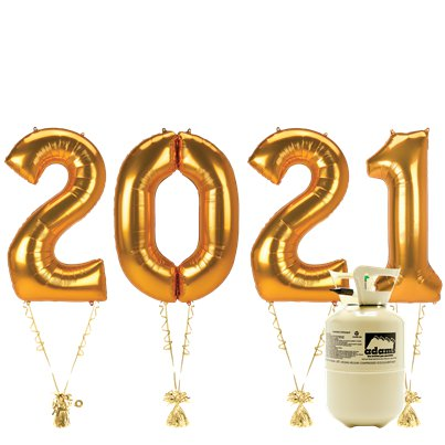 "2021 Gold Foil Balloon Kit With Helium - 34"" Foil"
