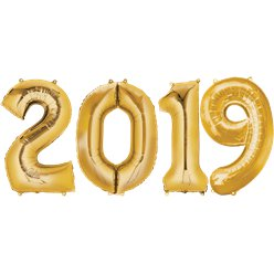 "2019 Gold Foil Balloon Numbers - 34"" Foil"