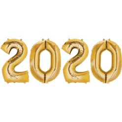 "2020 Gold Foil Balloon Numbers - 34"" Foil"