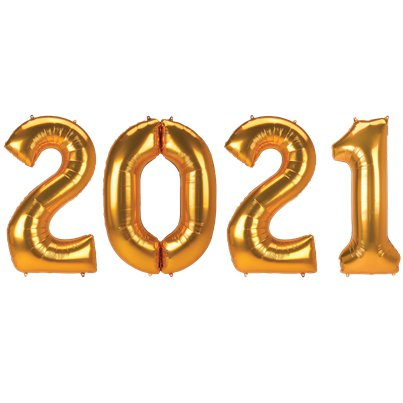 "2021 Gold Foil Balloon Numbers - 34"" Foil"