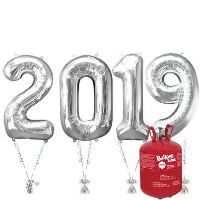 "2019 Silver Foil Balloon Kit With Helium - 34"" Foil"