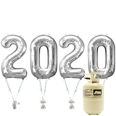 "2020 Silver Foil Balloon Kit With Helium - 34"" Foil"