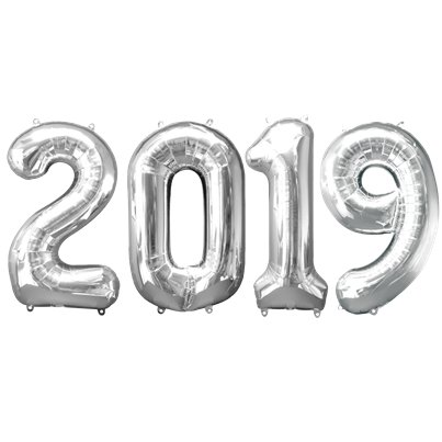 "2019 Silver Foil Balloon Numbers - 34"" Foil"