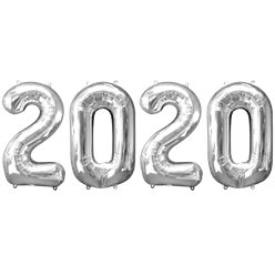 "2020 Silver Foil Balloon Numbers - 34"" Foil"
