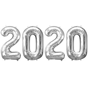 2020 Silver Foil Balloon Numbers - 34