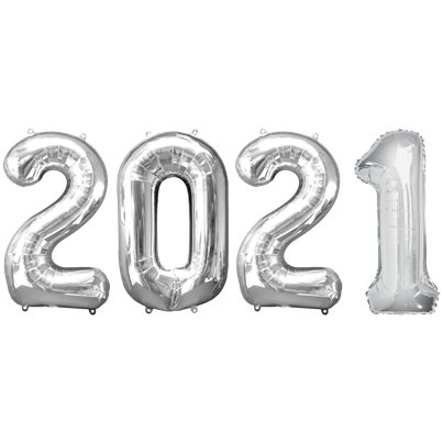 "2021 Silver Foil Balloon Numbers - 34"" Foil"