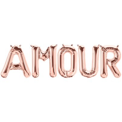 "'AMOUR' Rose Gold Balloon Kit - 34"" Foil"
