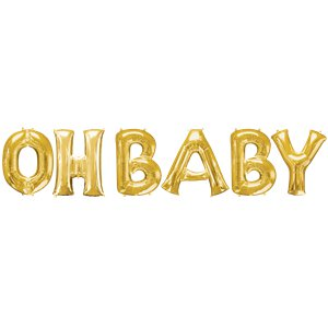 'OH BABY' Gold Foil Balloon Kit - 16