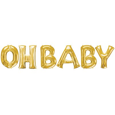 'OH BABY' Gold Foil Balloon Kit - 16""