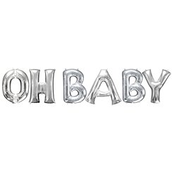 'OH BABY' Silver Foil Balloon Kit - 16""