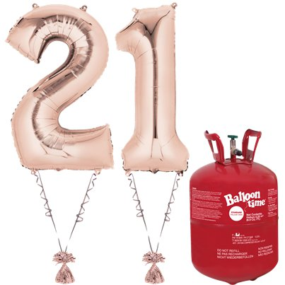 Age 21 Rose Gold Foil Kit With Helium, Ribbon and Weights