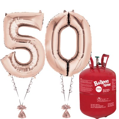 Age 50 Rose Gold Foil Kit With Helium, Ribbon and Weights