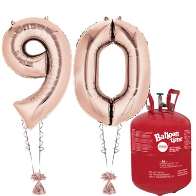 Age 90 Rose Gold Foil Kit With Helium, Ribbon and Weights