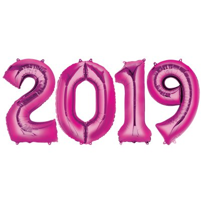 "2019 Pink Foil Air Filled Balloon Numbers - 16"" Foil"