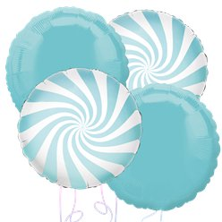 Blue Candy Stripe Balloon Bouquet