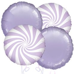 Lilac Candy Stripe Balloon Bouquet