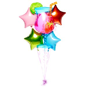 Tropical Cooler Cocktail Balloon Bouquet - Assorted Foil