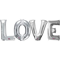 "'LOVE' Silver Balloon Kit - 16"" Foils"