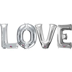 'LOVE' Silver Foil Balloon Kit - 34''