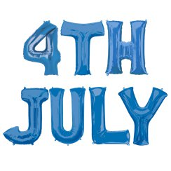 '4th July' Blue Foil Balloon Kit - 16""