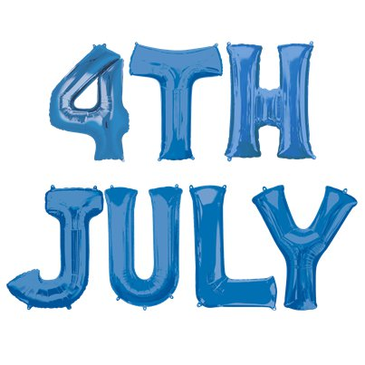'4th July' Blue Foil Balloon Kit - 16