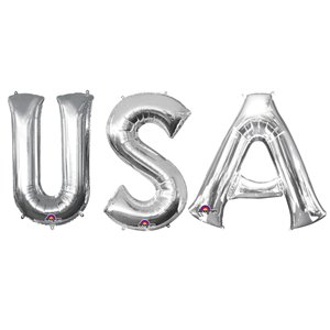 'USA' Silver Foil Balloon Kit - 34