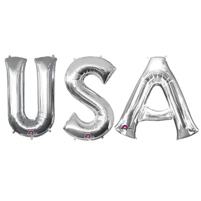 'USA' Silver Foil Balloon Kit - 34""