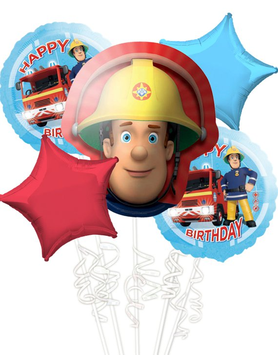 Fireman Sam Balloon Bouquet - Assorted Foil