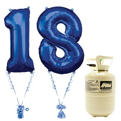 Age 18 Blue Foil Kit With Helium, Ribbon and Weights