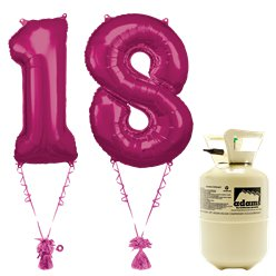 Age 18 Pink Foil Kit With Helium, Ribbon and Weights