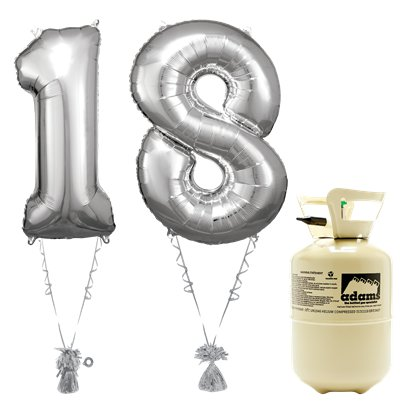 Age 18 Silver Foil Kit With Helium, Ribbon and Weights
