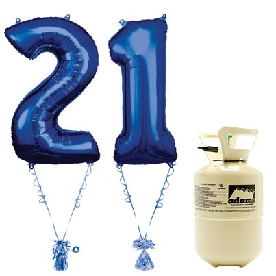 Age 21 Blue Foil Kit With Helium, Ribbon and Weights