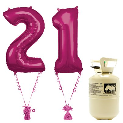 Age 21 Pink Foil Kit With Helium, Ribbon and Weights