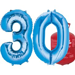 Age 30 Blue Foil Kit With Helium, Ribbon and Weights