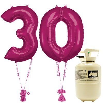 Age 30 Pink Foil Kit With Helium, Ribbon and Weights