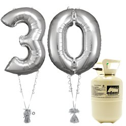 Age 30 Silver Foil Kit With Helium, Ribbon and Weights