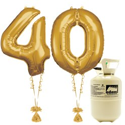 Age 40 Gold Foil Kit With Helium, Ribbon and Weights