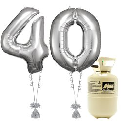 Age 40 Silver Foil Kit With Helium, Ribbon and Weights
