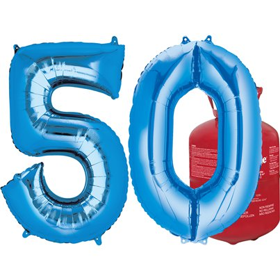 Age 50 Blue Foil Kit With Helium, Ribbon and Weights