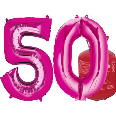 Age 50 Pink Foil Kit With Helium, Ribbon and Weights