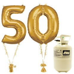 Age 50 Gold Foil Kit With Helium, Ribbon and Weights