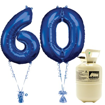 Age 60 Blue Foil Kit With Helium, Ribbon and Weights