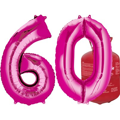 Age 60 Pink Foil Kit With Helium, Ribbon and Weights