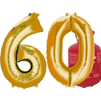 Age 60 Gold Foil Kit With Helium, Ribbon and Weights