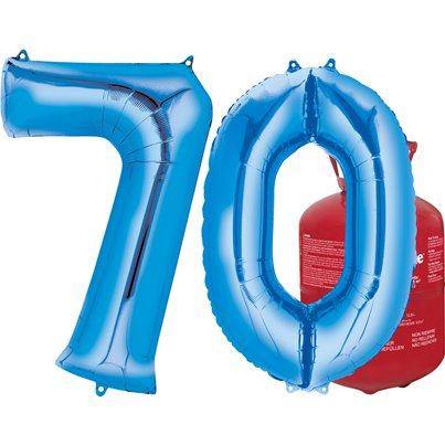 Age 70 Blue Foil Kit With Helium, Ribbon and Weights