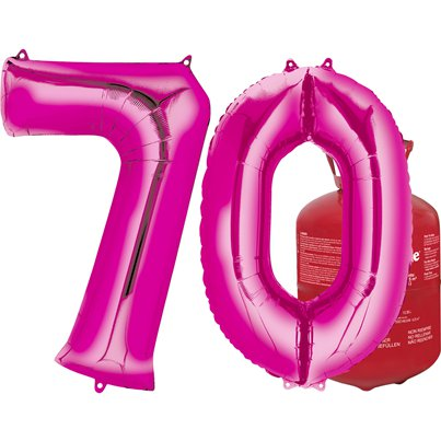 Age 70 Pink Foil Kit With Helium, Ribbon and Weights